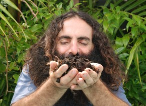 Our ambassador Costa Georgiadis holding compost